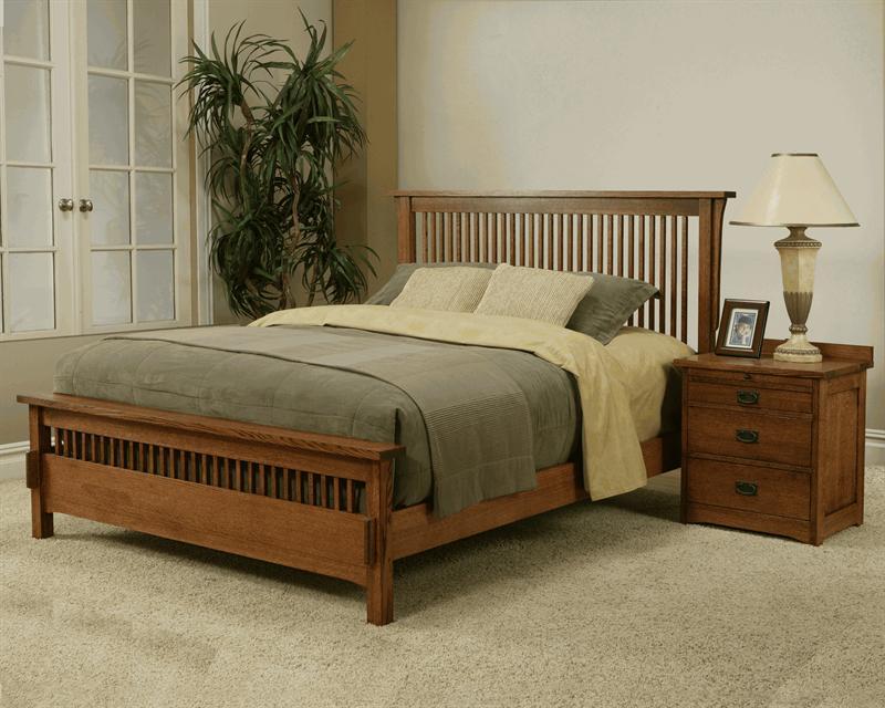 Solid Oak Mission Spindle Low Profile Bedroom Set