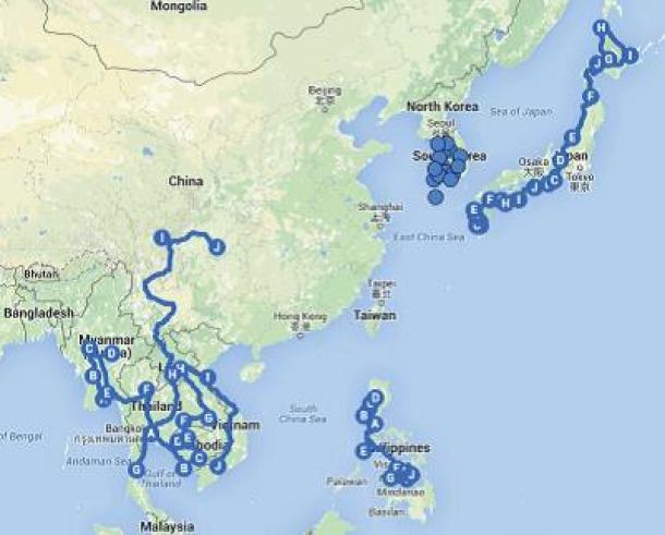 Mapa Azja 2013-2015