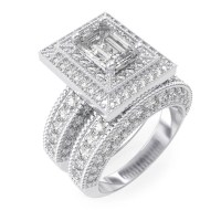 925 Sterling Silver Rhodium Finish CZ Antique Style ...
