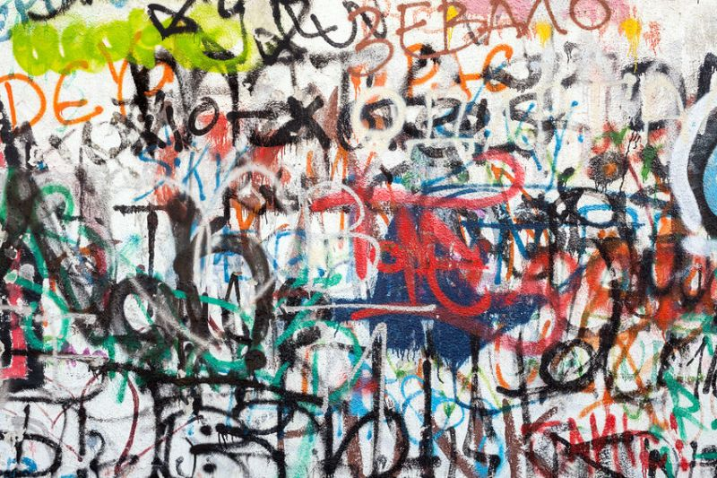 37108968 – graffiti as a wall texture, colorful and chaotic.