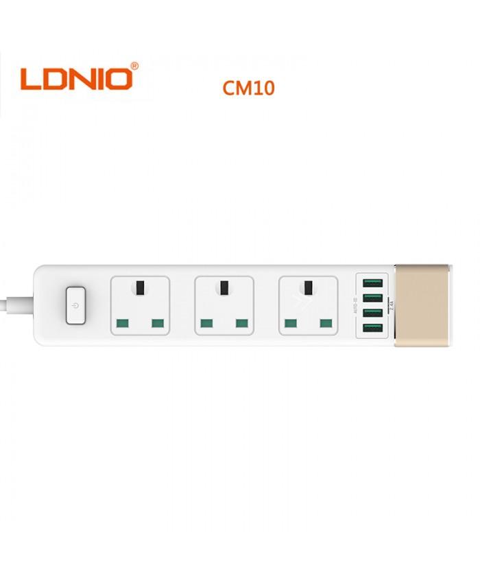 LDNIO 4 USB Ports Power Strip, 3 Way outlet Intelligent