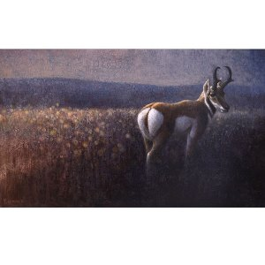 Ewoud-de-Groot-wildlife-art-artist-animals-birds-oil-painting-canvas-exhibition-Twilight-Antelope