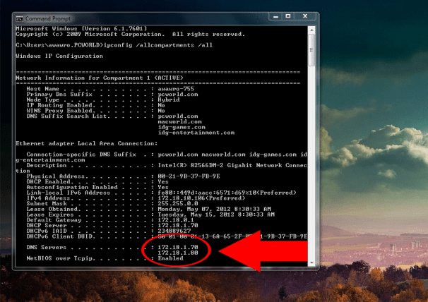 Use the /ipconfig command; click for full-size image.