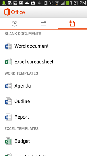 Office Mobile for Android new document