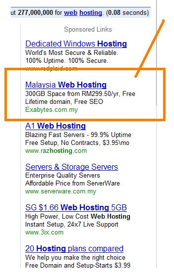 old google search screen shot with hosting query