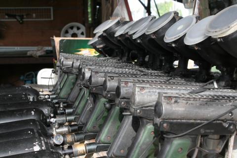 a row of paintball guns