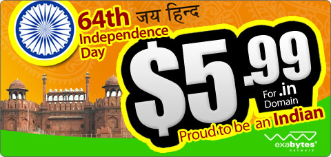 64th Independence Day .in domain name promotion