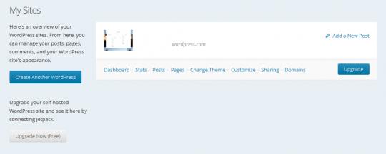 WordPress My Site Dashboard