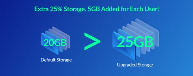 25GB email storage upgrade