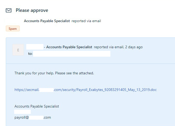 payment scam email example