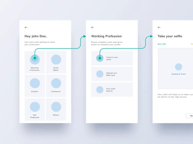 App's Wireframe & Userflow for Fast KYC by ROHIT BIND for RentoMoj