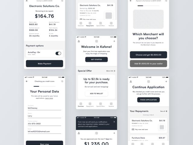Loan App Wireframes by Ryszard Cz