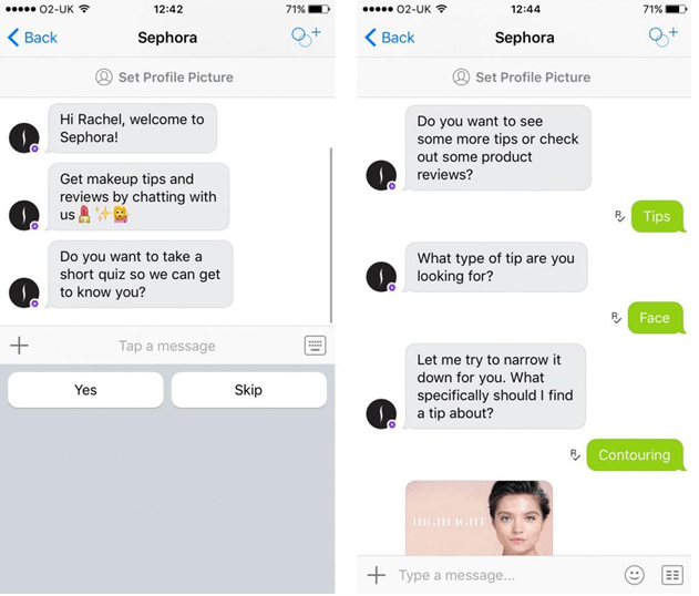 Sephora's chatbot helping a customer