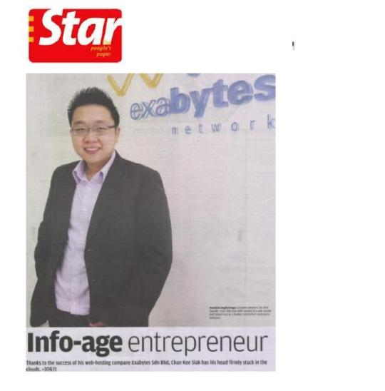 info-age entrepreneur Exabytes network the star