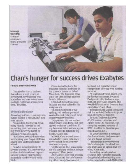 Chan's hunger for success drives Exabytes - The Star News Paper