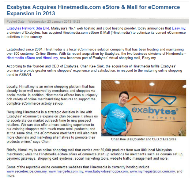 Exabytes acquires Hinetmedia.com eStore & Mall for e-Commerce Expansion in 2013
