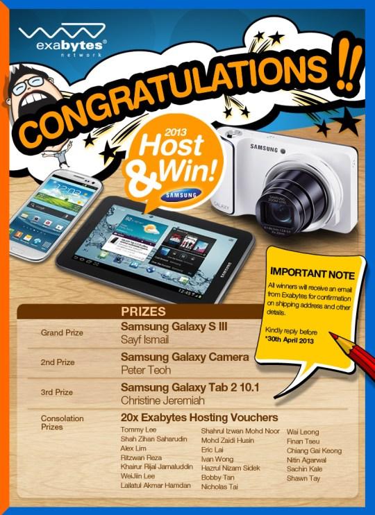 Host & Win 2013 Winners List