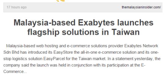 Exabytes in Malaysia news