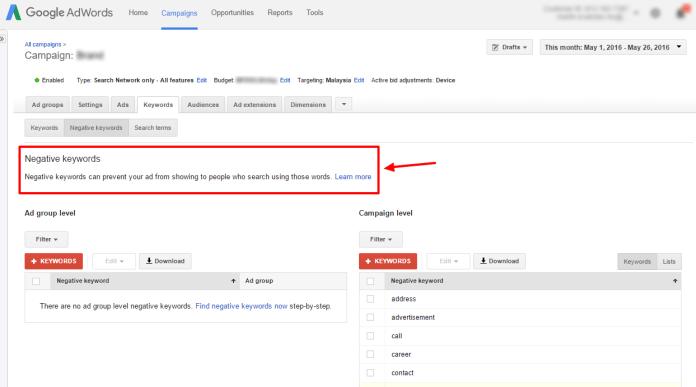 Google AdWords - negative keyword