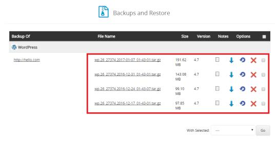 softaculous wordpress backup