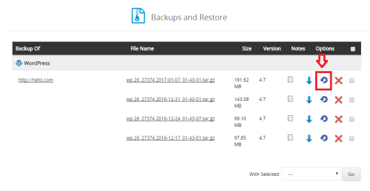 softaculous wordpress backup and restore