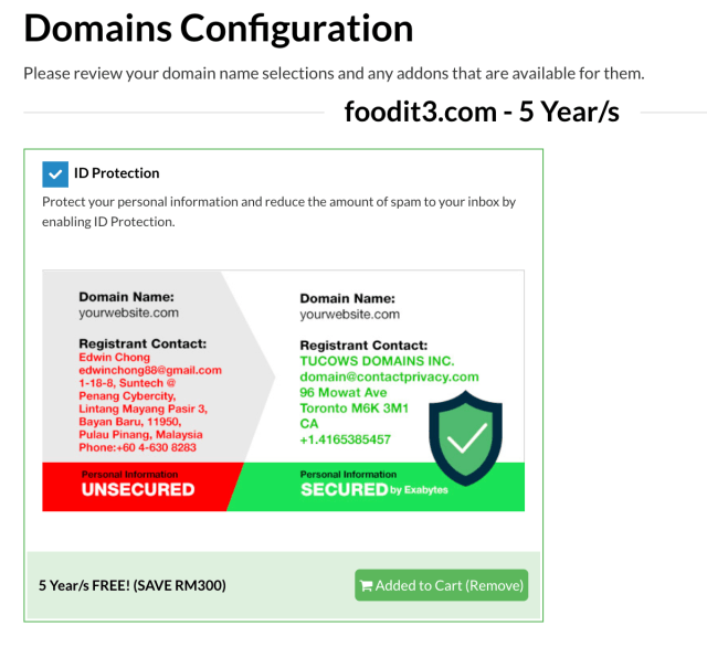 free domain privacy protection
