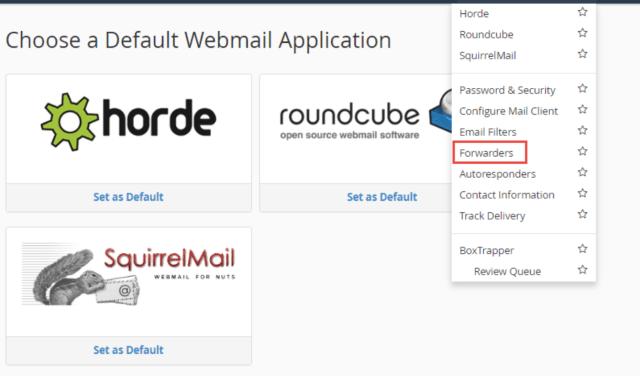 Webmail email farward