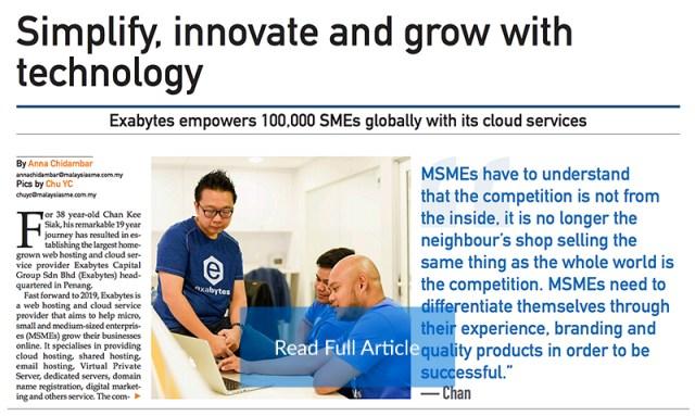 Malaysia SME Newspaper featuring Exabytes