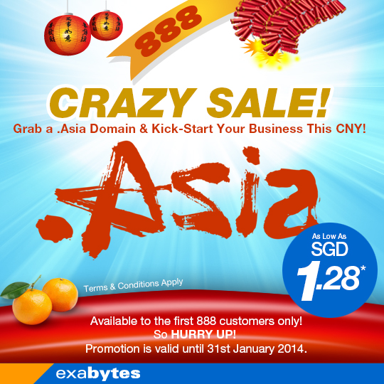 crazy sale for .asia domain name