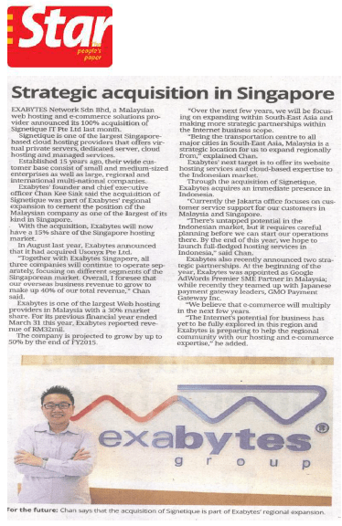 The Star Newspaper - Strategic Acquisition in Singapore