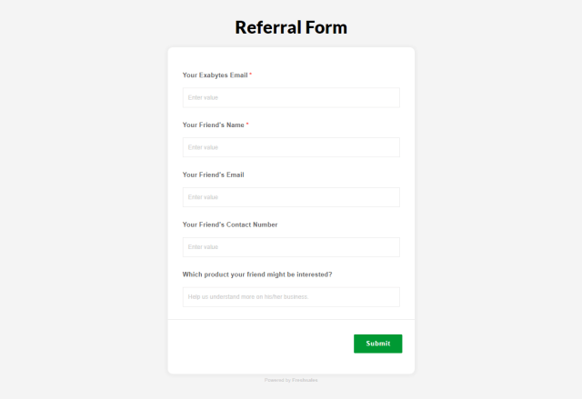 Exabytes refer a friend program - online referral form