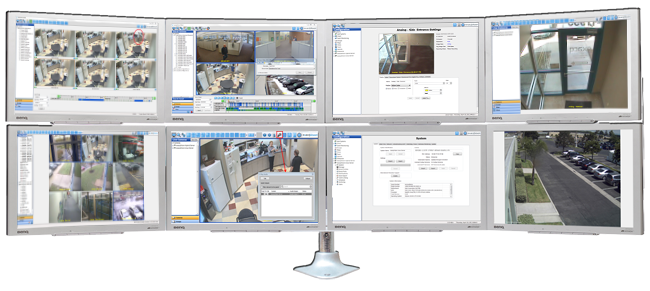exacqVision Pro vms software displayed on video wall