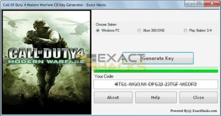 Chamada do dever 4 Key Generator CD Modern Warfare