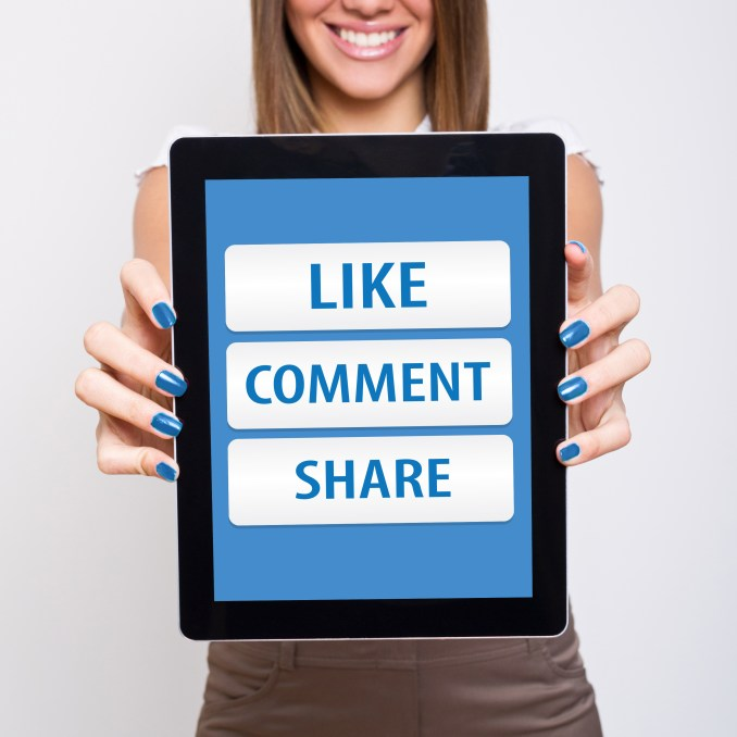 Social media like,comment and share