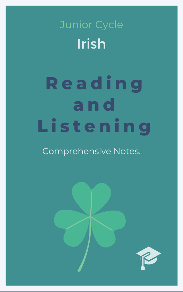 an ebook cover for Irish reading and listening notes.
