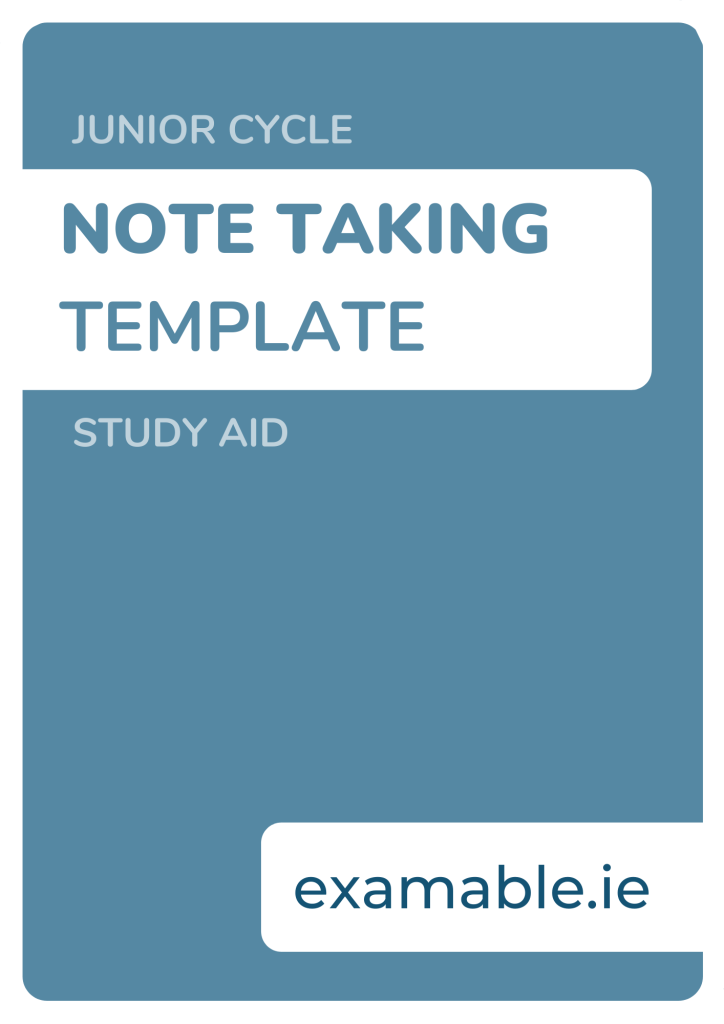Note-Taking Template Junior Cycle Study Aid