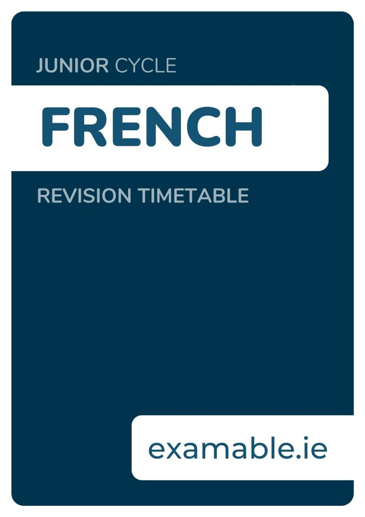 Junior Cycle French Revision Timetable