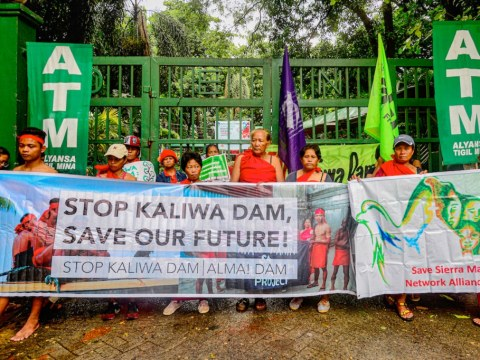 Indigenous Dumagat people from Quezon and Rizal, together with the Stop Kaliwa Dam Network, protest against the mega-dam project. Photo: UCAN/supplied