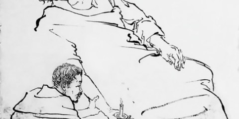 A part of a larger drawing of The Death of Francis Xavier by Lin Lin (林霖) . Together with other works depicting the life of St. Francis Xavier, it now hangs in the bishop's residence in Guangzhou. Used with permission