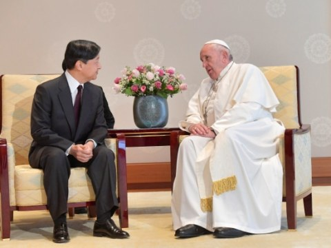 Pope Francis with Emperor Naruhito at the Imperial Palace in Tokyo on November 25. Photo: Vatican Media/­Handout via Reuters