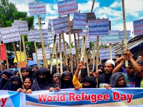 Rohingya refugees participate in a rally to observe World Refugee Day at a refugee camp in Cox's Bazar, Bangladesh, on June 20. Photo: CNS/Reuters