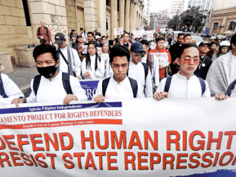 Church groups join calls for an end to human rights violations during the observance of Human Rights Day in Manila on December 10. Photo: UCAN/Jhun Dantes