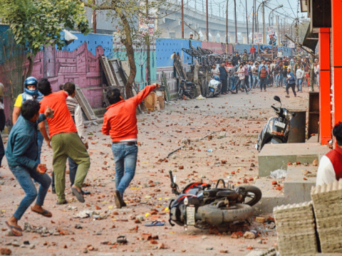 Clashes on the streets of New Dehli, India, on February 23. Photo: CNS/Reuters