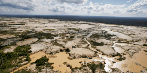 An area deforested by illegal gold mining in a zone known as Mega 14, in the southern Amazon region of Madre de Dios, Peru. File photo: CNS/Reuters