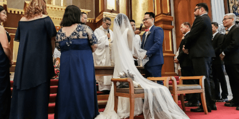 A Filipino couple exchanges marital vows. File photo: UCAN/Mark Saludes