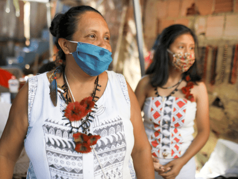 Indigenous women at the Satere Mawe Association of Indigenous Women in Manaus, Brazil, on April 24. The women have also been sewing face masks during the COVID-19 pandemic. Photo: CNS/Reuters