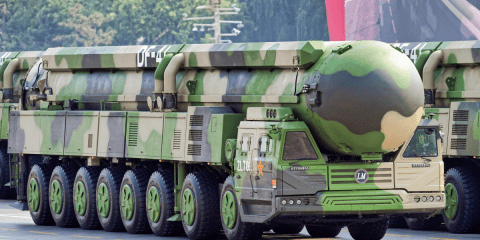 One of China's Dongfeng-41 intercontinental strategic nuclear missiles on during a National Day parade on 1 October 2019 . Photo: CNS/Reuters