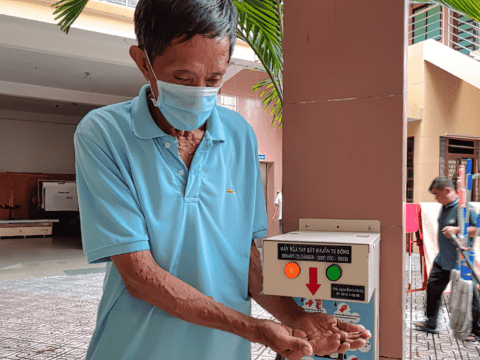 A hand cleansing stations at Hoa Hung Church in Ho Chi Minh City. Photo: UCAN