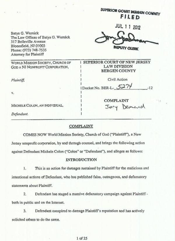 The Complaint WMSCOG Vs Colón NJ #BER L 5274 12
