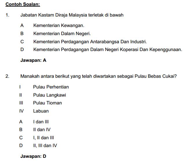 Contoh Soalan Pengetahuan AM Penguasa Kastam W41